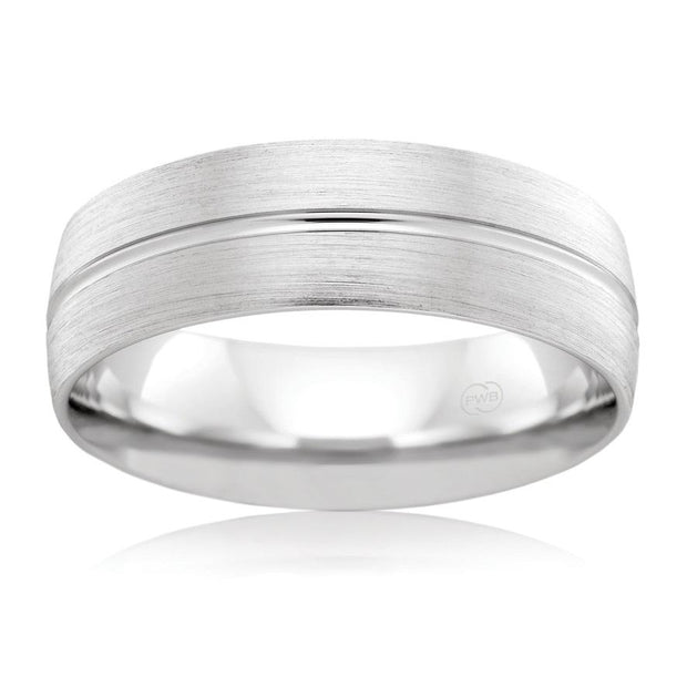 White Gold Brushed Grain Mens Wedding Ring (B2866)
