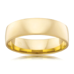 The Barrel Men's Yellow Gold Wedding Ring - Comfort Fit