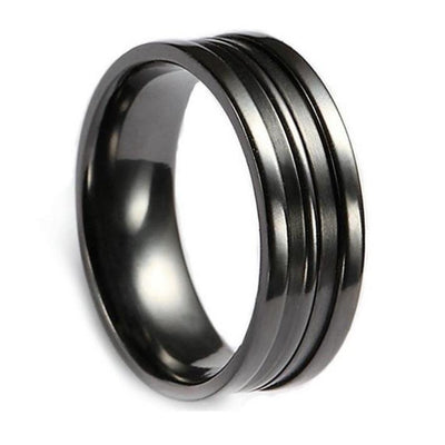 Custom Black Zirconium Grooved Wedding Ring