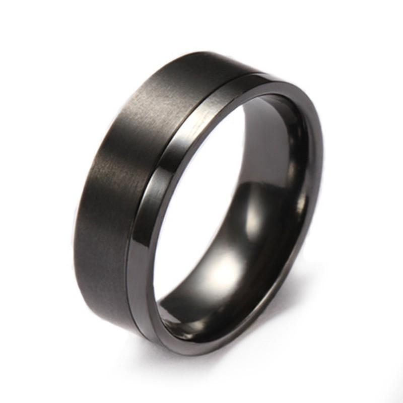 Mens Wedding Band.Custom Black Zirconium Two Tone Wedding Ring