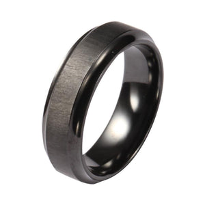 Custom Black Zirconium Brushed and Bevelled Wedding Ring