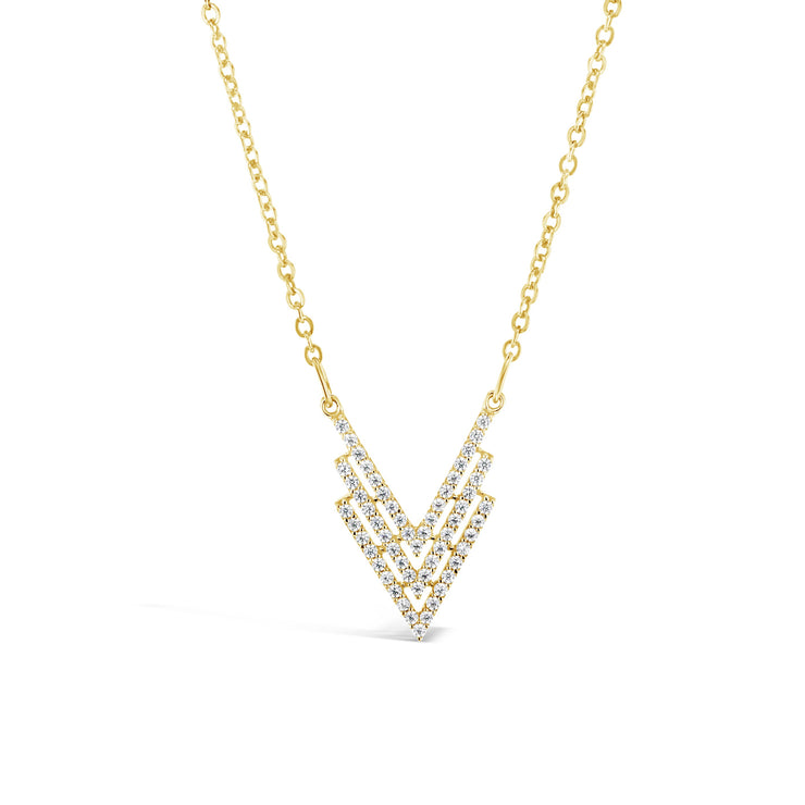 9ct Gold & CZ Triple V Necklace