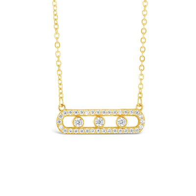 9ct Gold & CZ Oval Necklace