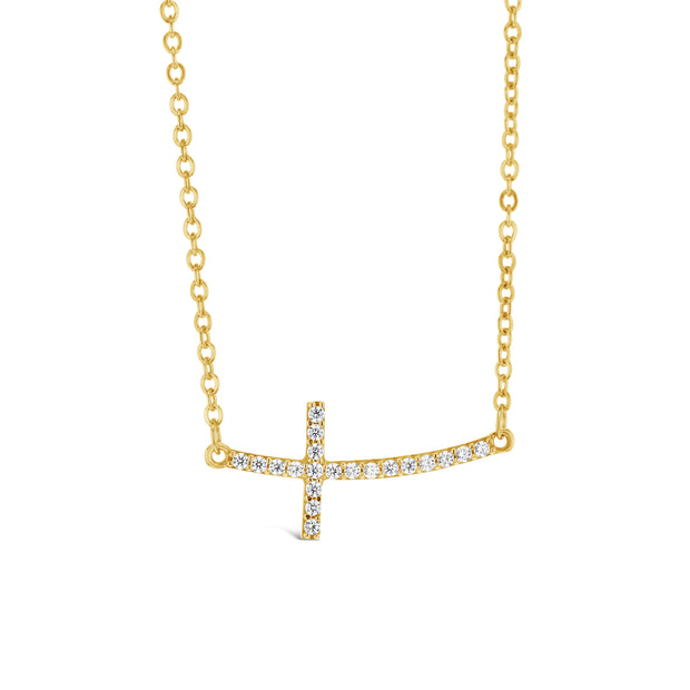 9ct Gold & CZ Horizontal Cross Necklace