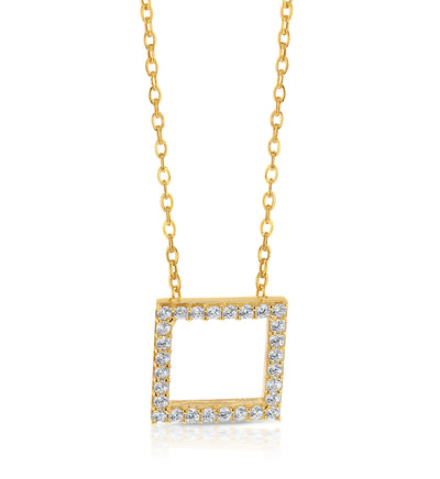 9ct Gold Square CZ Necklace