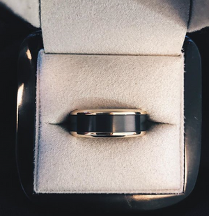 Elysium Black Diamond and 18 Carat Yellow Gold Wedding Ring