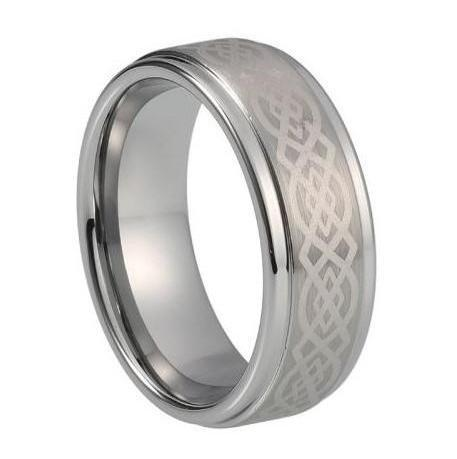 Custom Bevelled Tungsten Ring with Celtic Pattern