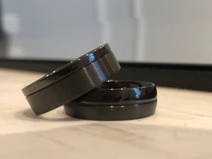 Custom Black Zirconium Two Tone Wedding Ring
