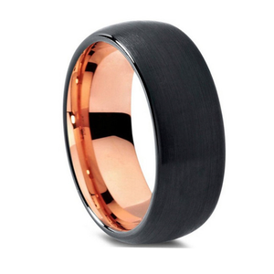 Custom Black and Rose Gold Plated Round Tungsten Ring