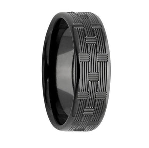 Custom Patterned Black Zirconium Wedding Ring