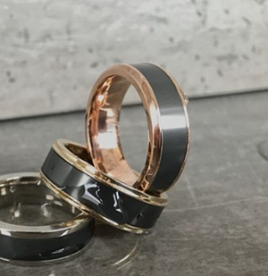 Elysium Black Diamond and 18 Carat Rose Gold Wedding Ring