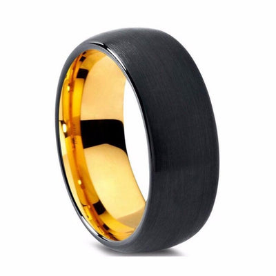 Custom Round Brushed Black and Yellow Plated Tungsten Ring