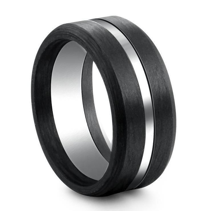 Mens Wedding Bands Titanium.Carbon Fibre And Titanium Men S Wedding Ring