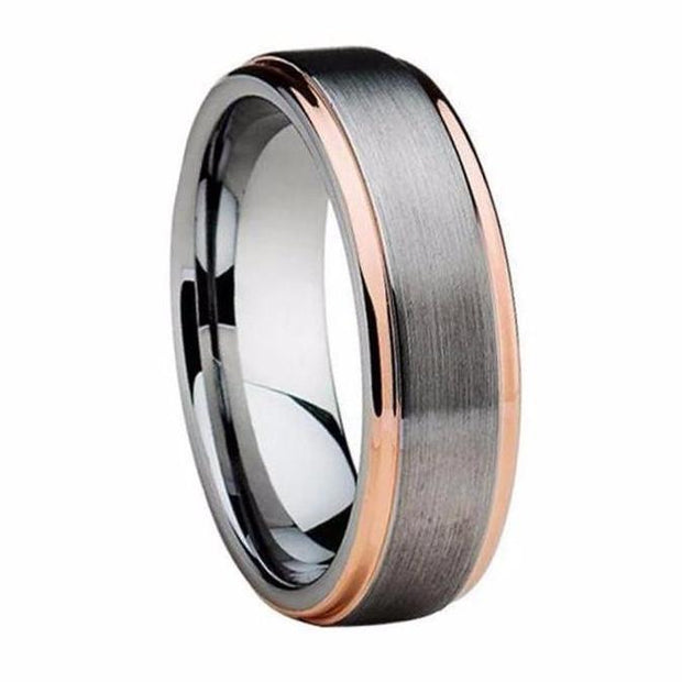 Custom Brushed Silver and Double Striped Rose Plated Men's Tungsten Ring