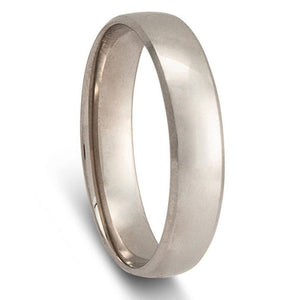 Men's White Gold Wedding Ring - Quarter Round Comfort Curve