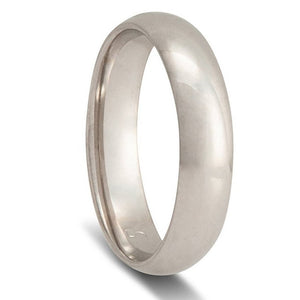 Men's White Gold Wedding Ring - Half Round Comfort Curve