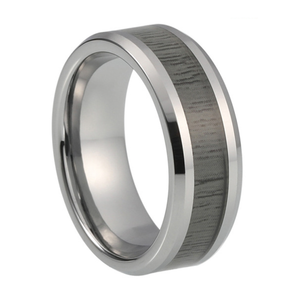Custom Charcoal Wood Inlay Tungsten Ring
