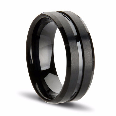 Black Grooved Tungsten Ring