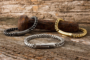 Gauntlet Steel Men's Bracelet - Brushed Steel