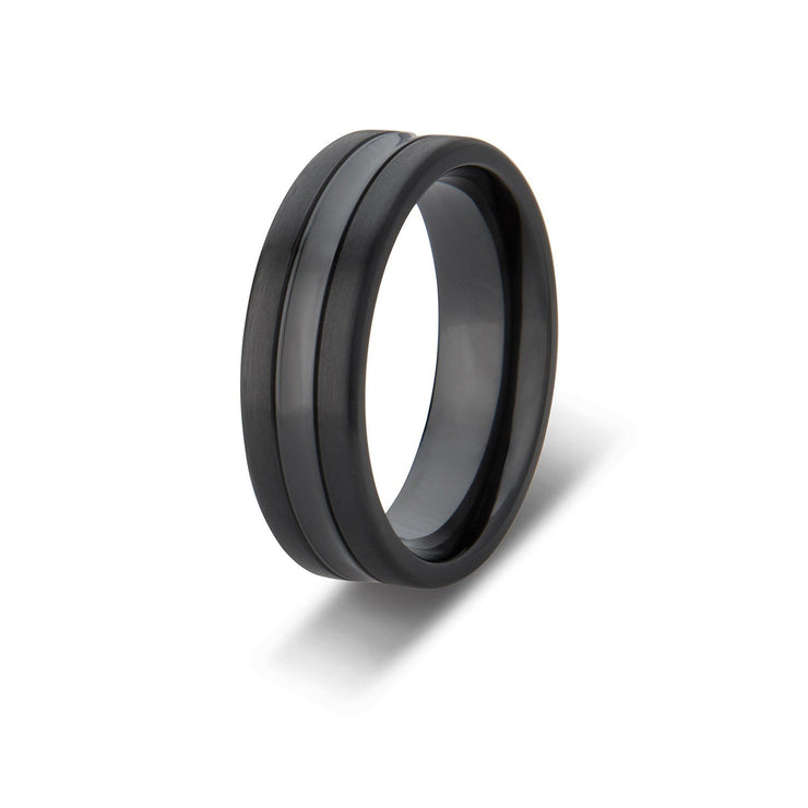 Custom Black Zirconium Polished Inlay Mens Wedding Ring