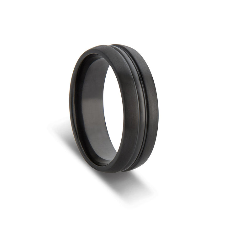 Custom Black Zirconium Polished Groove Inlay Wedding Ring