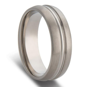 Grooved Polished Inlay Titanium Mens Wedding Ring