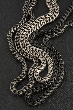 Gauntlet Steel Necklace Chain -  Brushed Silver (6mm)