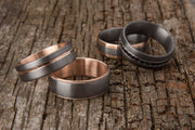 Tantalum and Rose Gold Inner Sleeve and Striped Inlay Wedding Ring