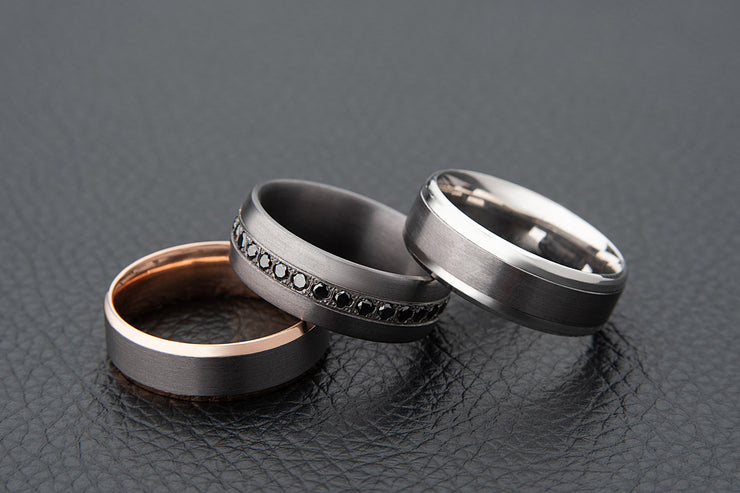 Tantalum and Rose Gold Bevelled Edge Wedding Ring