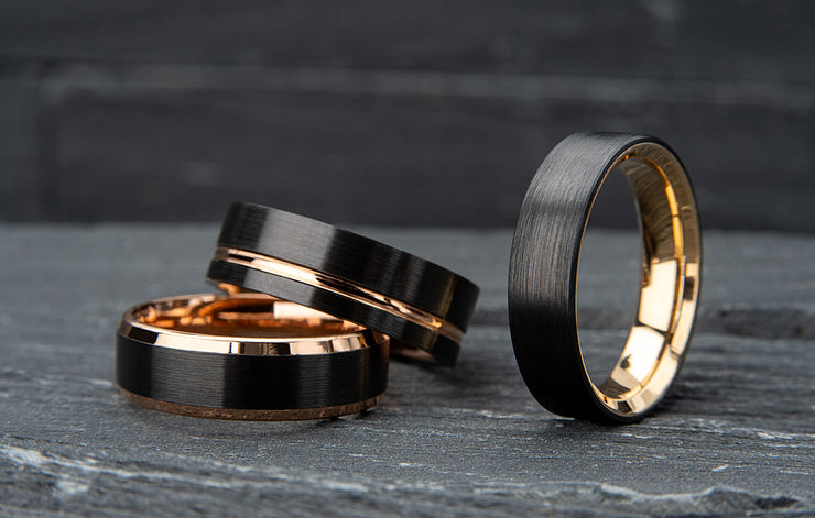 Custom Black Zirconium and Yellow Gold Inlay Wedding Ring