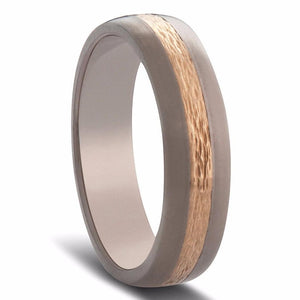 Titanium and Gold Milgrain Inlay Mens Wedding Ring