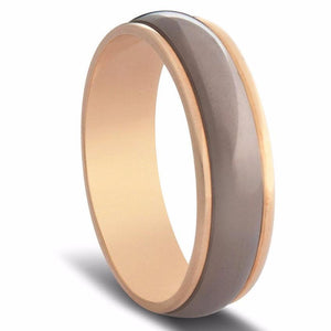 Two Tone Curved Titanium and Gold Mens Wedding Ring