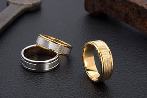Textured Two Tone Gold Mens Wedding Ring - 2TJ4226
