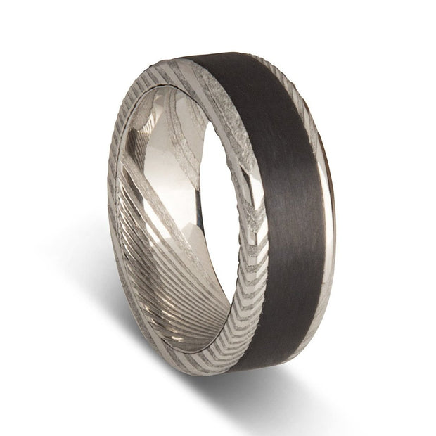 Custom Damascus Steel Mens Ring with Carbon Fibre Middle Inlay