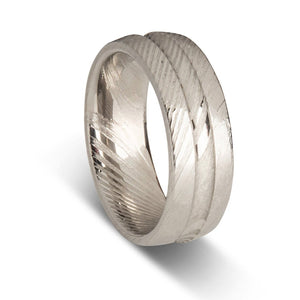 Custom Damascus Steel Mens Ring with Center Groove