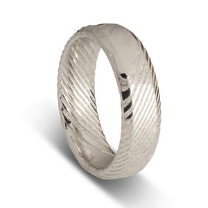 Custom Round Damascus Steel Mens Wedding Ring