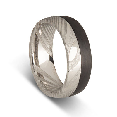 Custom Two Tone Damascus Steel Ring with Carbon Fibre Mens Ring