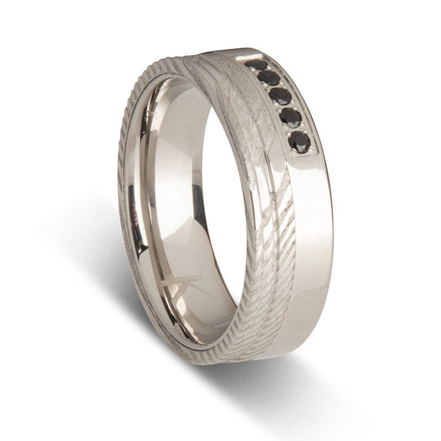 Mens Steel Wedding Rings with Black Stones