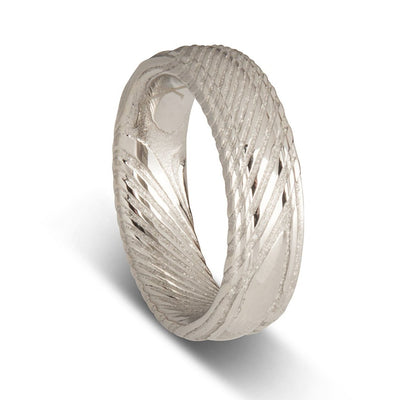 Custom Flat Damascus Steel Mens Wedding Ring