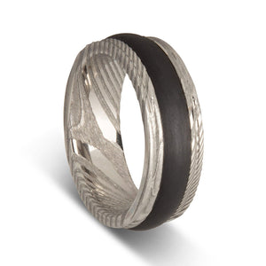 Custom Damascus Steel & Narrow Carbon Fibre Mens Ring
