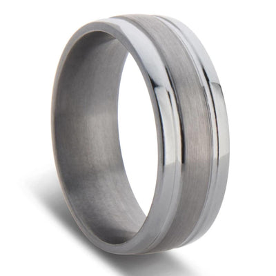 Dual Grooved Tantalum Wedding Ring