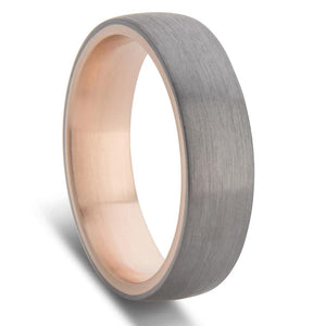 Tantalum and Rose Gold Inner Sleeve Wedding Ring