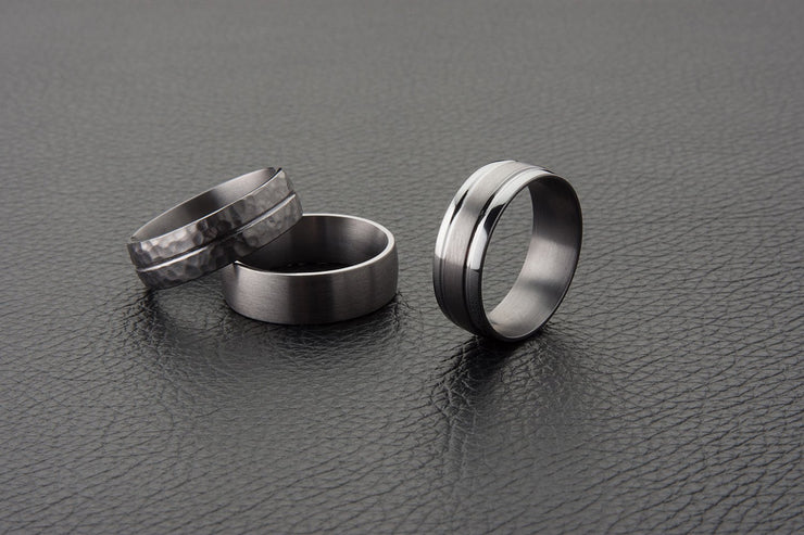 Curved Round Tantalum Wedding Ring