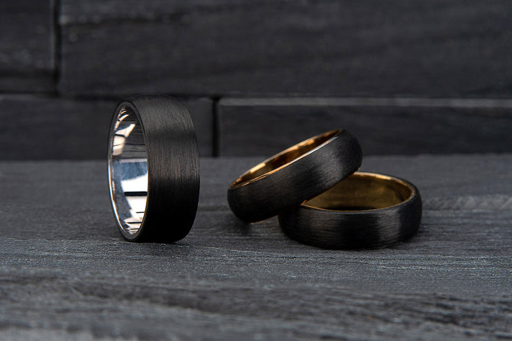 White Gold and Carbon Fibre Round Wedding Ring - 656B00