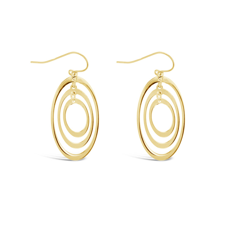 9ct Triple Oval Drop Earrings