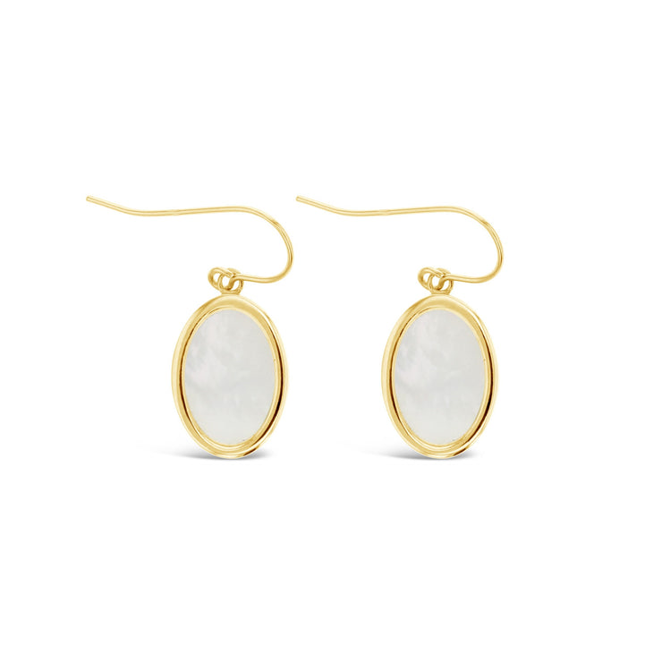 9ct Large Oval M.O.P Drop Earrings