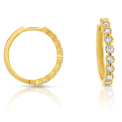 9ct Yellow Gold CZ Square Tube 14.5 mm Huggie Earrings