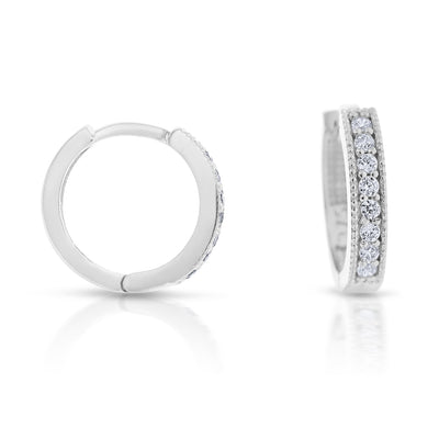 9ct White Gold Round CZ Square Tube Huggie Earrings
