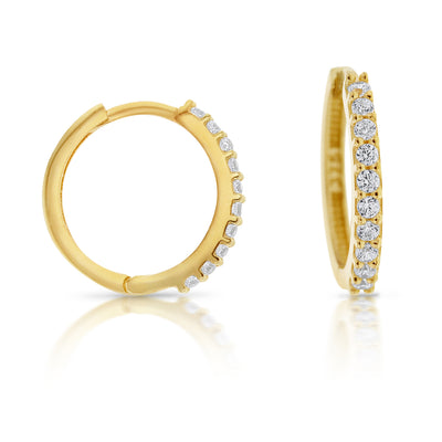 9ct Yellow Gold CZ Square Tube Huggie Earrings