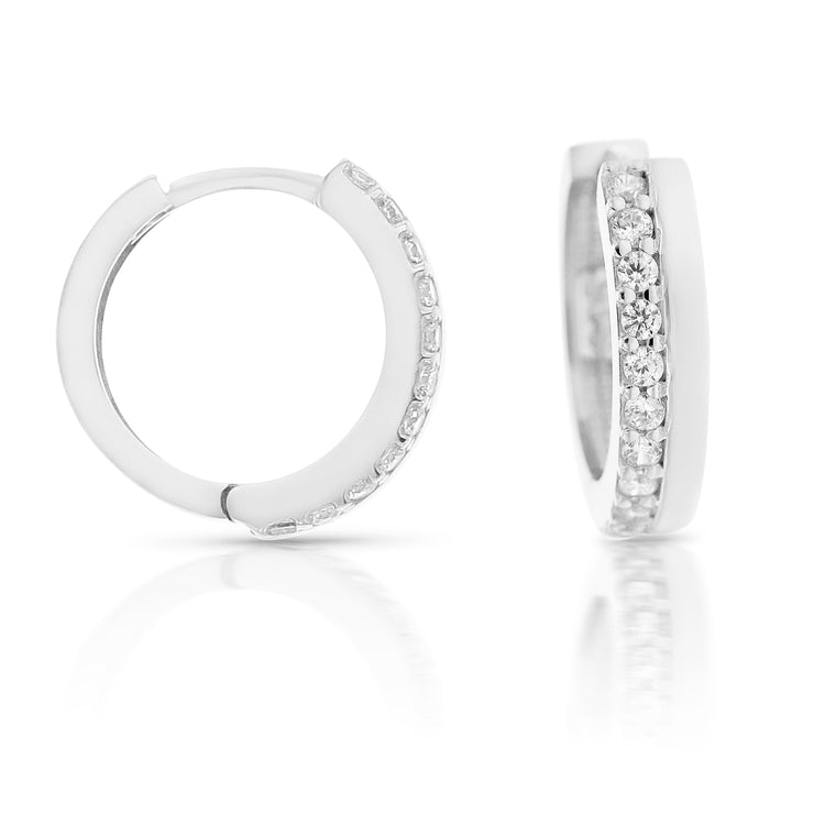 9ct White Gold CZ Single Row Huggie Earrings